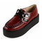 2014 design handmade women's vintage wine red lace up flat platform oxfords goth creeper shoes punk creepers pumps loafers sneakers