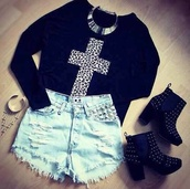 sweater,clothes,cross,tumblr,shorts,shoes,jewels,shirt,black sweater,sweatshirt,High waisted shorts,denim,jewelry,jeans,black,high heels,boots,hipster,leopard print,cross top,leopard print cross,black top,t shirt print,ankle boots,pants,skirt,tumblr outfit,top,dress,grunge,distressed denim shorts,short,heels