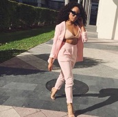 pants,pink,shirt,light,cute,jacket,jumpsuit,two-piece,nude,blazer,bralette,coat