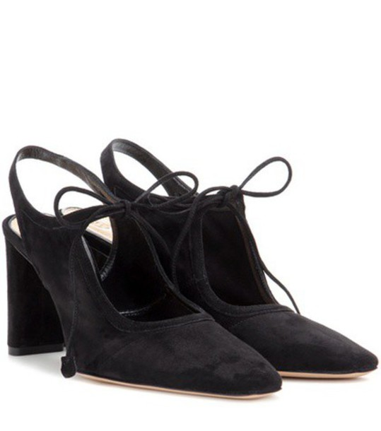 The Row Camil Suede Pumps in black