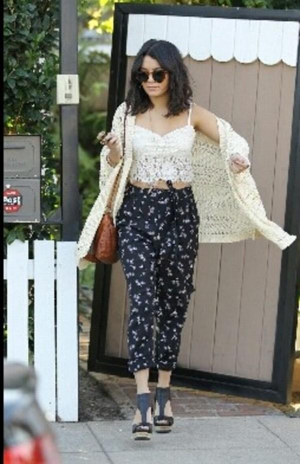 pants printed pants vanessa hudgens crochet crop top cute tank top shoes