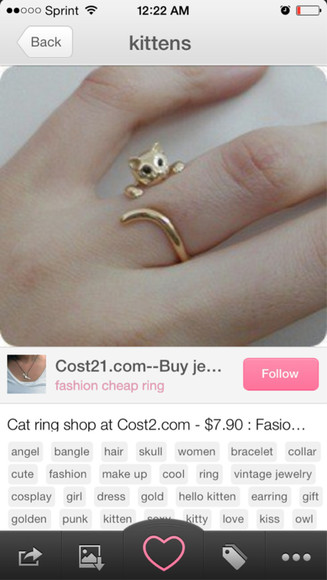jewels ring gold ring gold cat cat ring