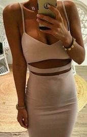 dress,stomach cutout,cut-out,tan,bodycon dress,nude pink,nude dress,nude,pink dress,cute dress,slit dress,tight dresses,nude pink tight dress