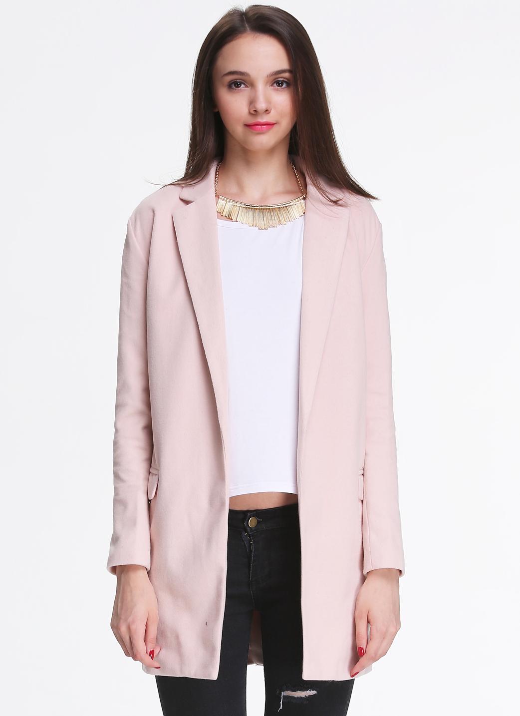Long Sleeve Notch Lapel Coat - Sheinside.com