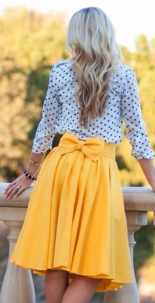 skirt yellow bow polka dots bow in back knee length bows knee length skirt yellow skirt shirt Bow Back Dress clothes bow skirt pinterest