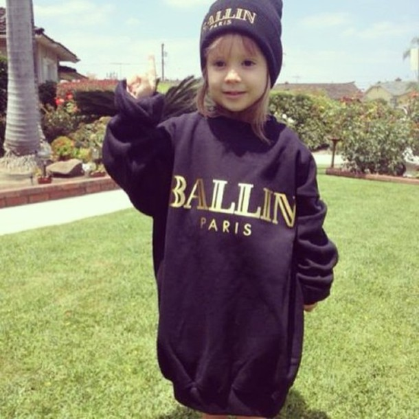 dd01369f7d4 sweater alex and chloe alex   chloe balmain ballin ballin paris cutie girl  black gold sweatshirt