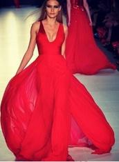 dress,red dress,red,v neck,formal dress,clothes,designer,designer dress,gown,runway,long red dress,colorful,prom dress,maxi dress,model,long dress