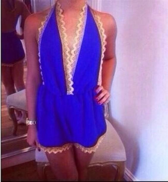 dress blue playsuit romper jumpsuit