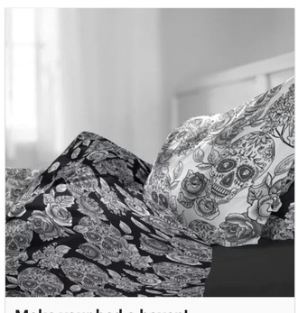 home accessory bedding skull grunge black and white