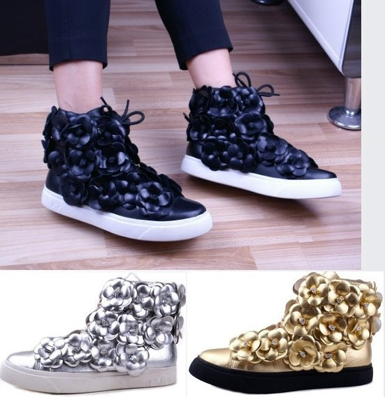 Genuine Leather Chanel Floral High Top Sneakers