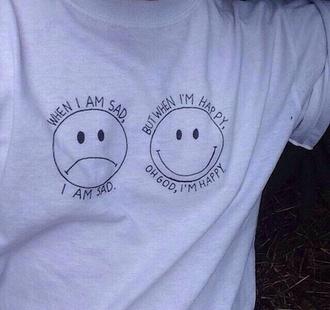 top clothes sad happy t-shirt shirt needitnow