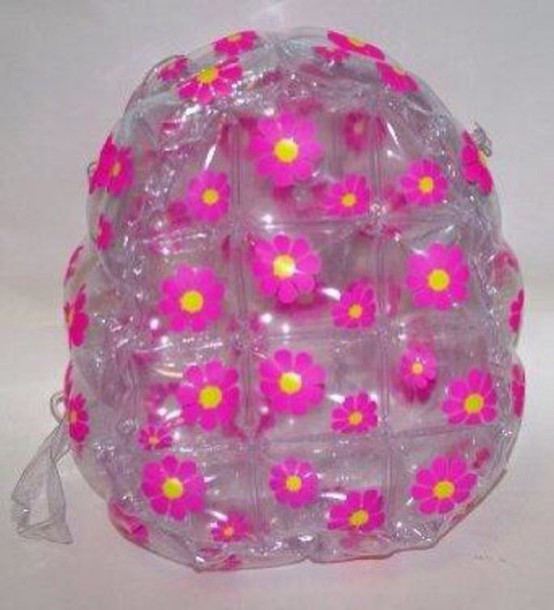 bag clear with pink daisys