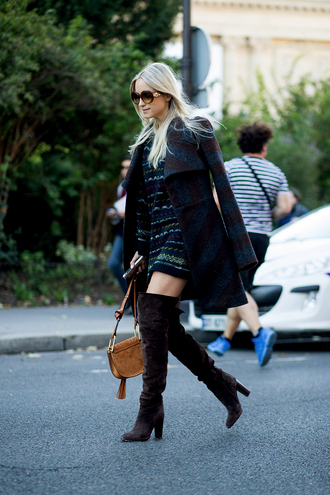 the fashion guitar blogger suede boots thigh high boots striped coat fall coat fall outfits