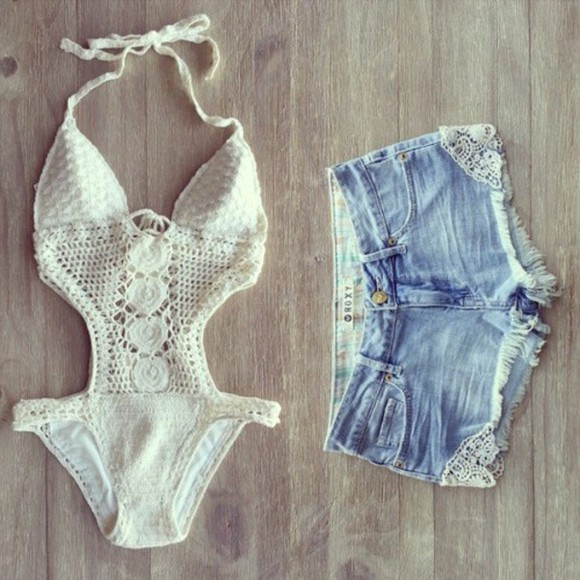 swimwear one piece bikini summer lace white indie hippie beach boho california clothes crochet shorts hot pants lace swimwear high waisted shorts white, lace, one piece bathing suit, cotton