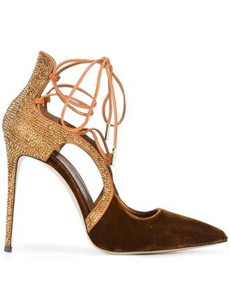 pumps lace velvet brown shoes