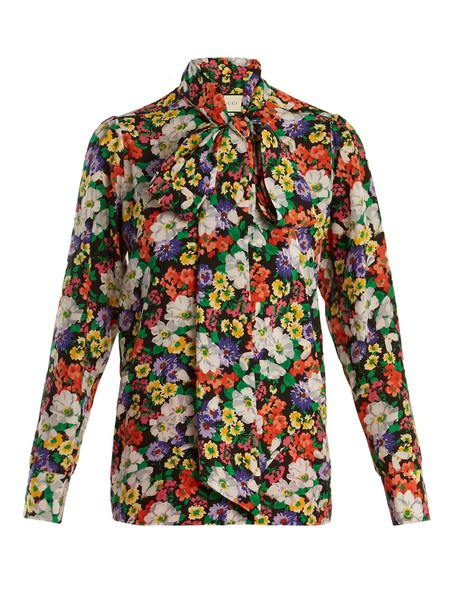 shirt floral print silk black top