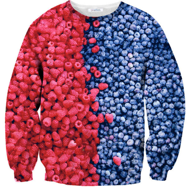 sweater red blue berries fruits wheretoget