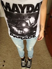 t-shirt,band t-shirt,white,black,top,blue,crop tops,jeans,pants,converse,acacia brinley,cute,hipster,clothes,fashion,denim,ripped jeans,lovely,mayday parade,shirt