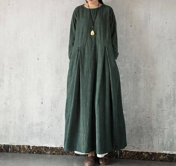dress round collar maxi dress