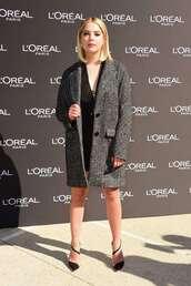 coat,fall outfits,mini dress,black dress,pumps,celebrity,fashion week