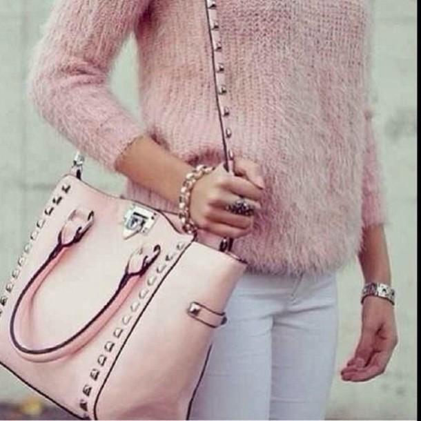 Sweater Bag Black Purse Baby Pink Studded Bag