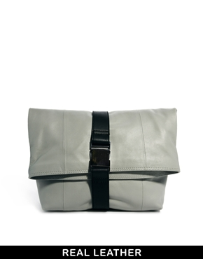 ASOS | ASOS Leather Oversized Soft Clutch Bag With Seat Belt Fastening at ASOS