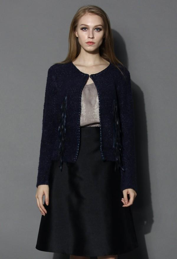 chicwish fringed knit coat navy coat
