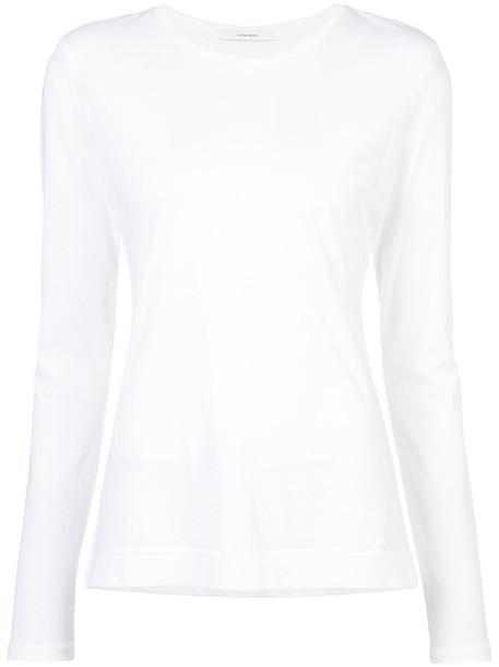 Adam Lippes - round neck long-sleeved top - women - Supima Cotton - XS, White, Supima Cotton
