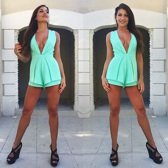 romper teal blue romper deep v tan gorgeous fashion chic wedges summer summer outfits mint