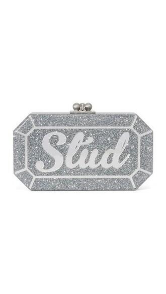 glitter clutch silver silver glitter bag