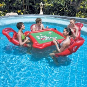Amazon Texas Holdem Inflatable Pool Poker Set W Card Table Floating Lounge Chairs