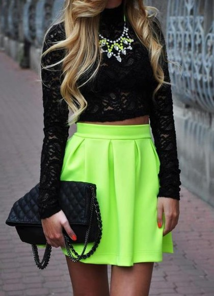 skirt neon shirt yellow cute jewelry crop tops bag black skater skirt swag dope ineed colorful jewels soo trill blonde hair