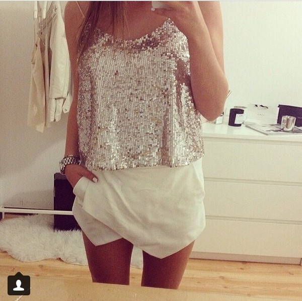 skirt white shirt assumetrical skorts glitter blouse
