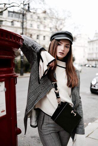lolita mas blogger sweater pants jacket bag shoes bell sleeve sweater white sweater crossbody bag black bag hat