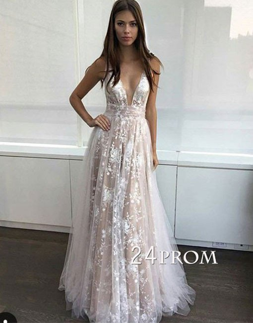 Simple v neck tulle lace long prom dress. lace evening dress - 24prom