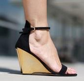 shoes,wood wedge,high heels,wedges,platform shoes,black,sandals,ankle strap