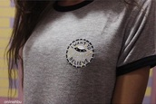 alien,quote on it,patch,badge,t-shirt,grey top,aliens grunge,stitch