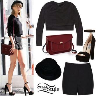 shorts black sweater high heels top