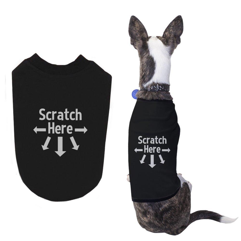 Scratch here dog shirts cute black pet t for Custom dog face t shirt