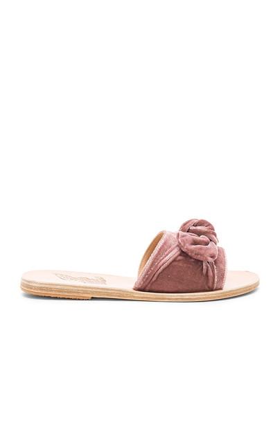 Ancient Greek Sandals bow velvet shoes