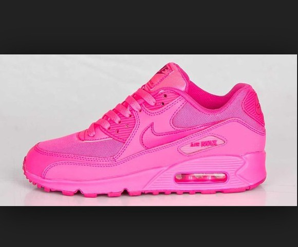 shoes neon pink airmax 90 pink airmax 90s airmax90 all pink all pink nike air max 90