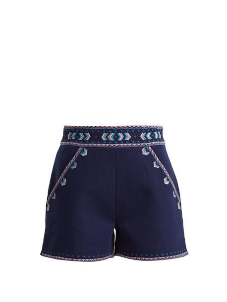 shorts embroidered high cotton dark blue dark blue