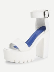shoes,girly,white,platform shoes,platform heels,ankle strap,ankle strap heels,cleated sole,high heels,high
