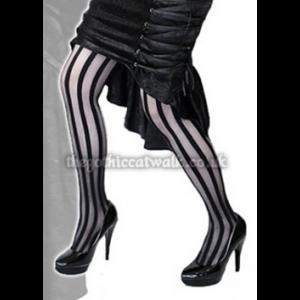 Gothic Burlesque Vertical Striped Tights | Gothic