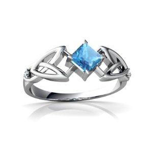 Amazon.com: 14kt gold blue topaz and diamond square celtic trinity knot ring: jewelry