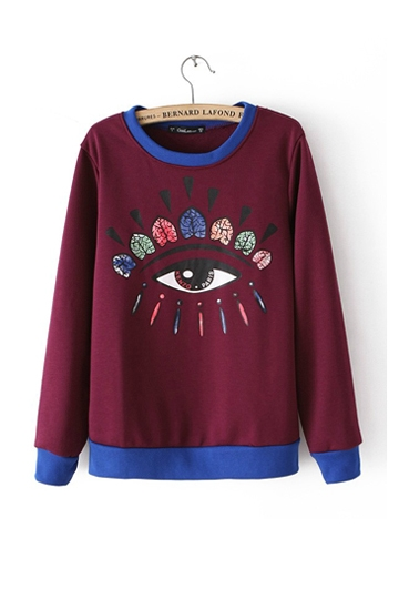 Eyes Embroidery Patterns Pullover [FOBK0056]- US$19.99 - PersunMall.com