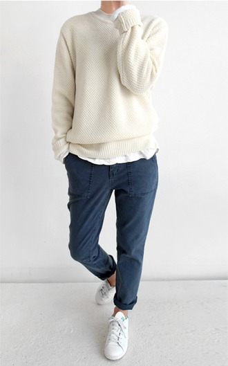 pants blue sweater adidas navy clothes knitwear stan smith