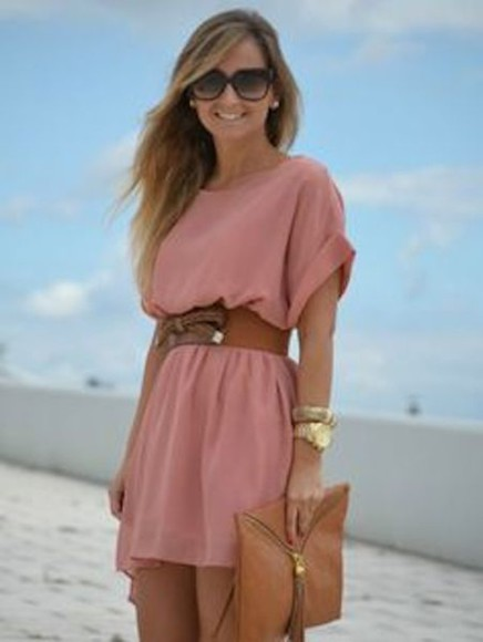 cute Belt pink cute dress pretty dress shortsleeve