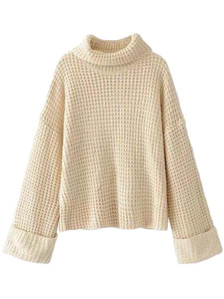 'Retta' Cream White Ribbed Cropped Turtleneck Sweater