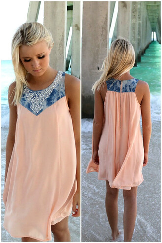 dress amazinglace sundress embellished peach denim acid wash amazinglace.com summer beach